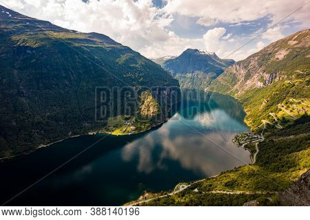 Panoramic and drone landscape of Geiranger fjords, Geirangerfjord, Norway.