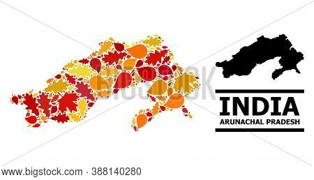 Mosaic Autumn Leaves And Usual Map Of Arunachal Pradesh State. Vector Map Of Arunachal Pradesh State