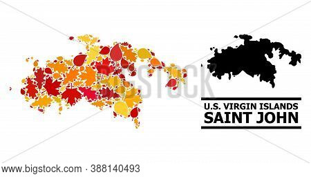 Mosaic Autumn Leaves And Solid Map Of Saint John Island. Vector Map Of Saint John Island Is Construc