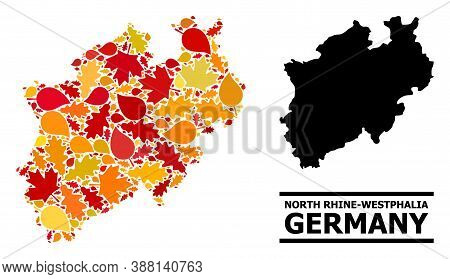 Mosaic Autumn Leaves And Solid Map Of North Rhine-westphalia State. Vector Map Of North Rhine-westph