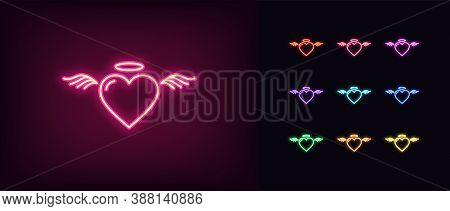 Neon Angel Heart, Glowing Icon. Neon Saint Heart With Wings And Nimbus. Flying Angelic Love In Vivid