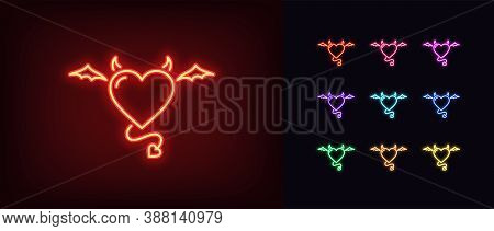Neon Devil Heart, Glowing Icon. Neon Demon Heart With Wings, Tail And Horns. Flying Evil Love In Viv