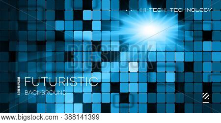 Tiled Reflective Background. Reflective Wall For Nightclub Party. Bright Glowing Background For A Da