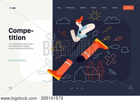 Business Topics -competition, Web Template. Flat Style Modern Outlined Vector Concept Illustration.
