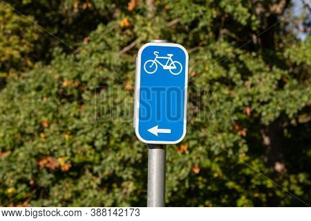 Bicycle Blue Direction Sign. Recreation By Bicycle