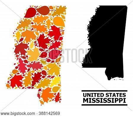 Mosaic Autumn Leaves And Usual Map Of Mississippi State. Vector Map Of Mississippi State Is Shaped O