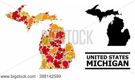 Mosaic Autumn Leaves And Usual Map Of Michigan State. Vector Map Of Michigan State Is Composed Of Ra