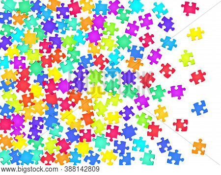 Abstract Tickler Jigsaw Puzzle Rainbow Colors Parts Vector Illustration. Scatter Of Puzzle Pieces Is
