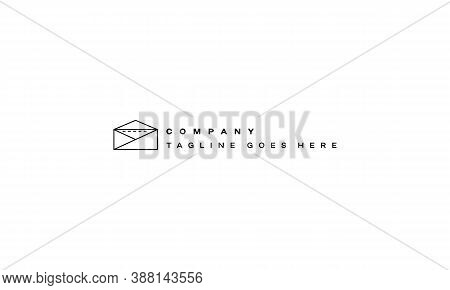 Vector Logo On Which An Abstract Image Of A Videotape In An Envelope In A Linear Style.