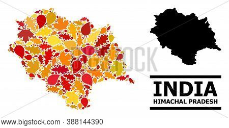 Mosaic Autumn Leaves And Usual Map Of Himachal Pradesh State. Vector Map Of Himachal Pradesh State I