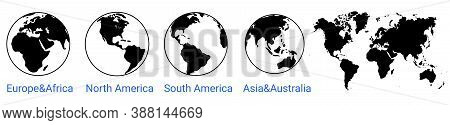 Globe World Icon. World Map. Globe Of Asia Australia, Europe, Africa, North America, South America.