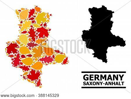 Mosaic Autumn Leaves And Usual Map Of Saxony-anhalt State. Vector Map Of Saxony-anhalt State Is Crea