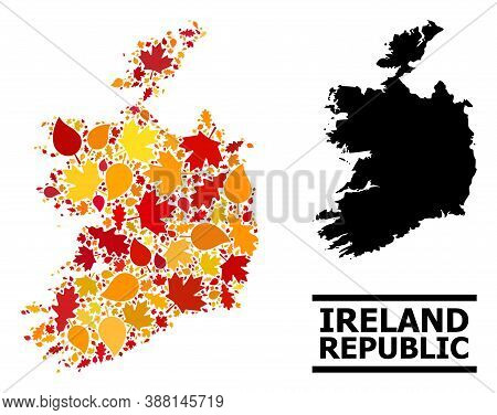 Mosaic Autumn Leaves And Solid Map Of Ireland Republic. Vector Map Of Ireland Republic Is Constructe