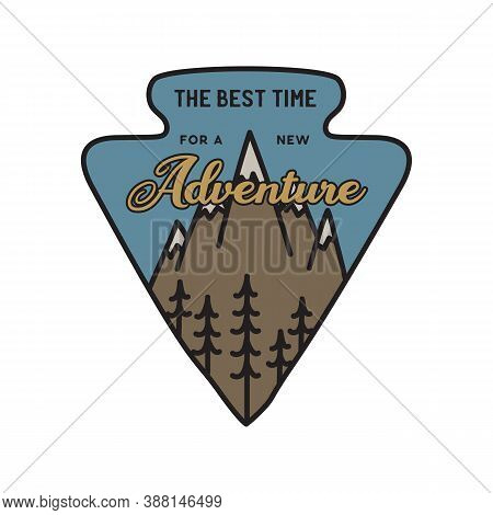 Vintage Camping Logo, Adventure Emblem Illustration Design. Outdoor Label With Mountains And Quote T