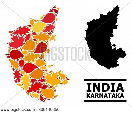 Mosaic Autumn Leaves And Solid Map Of Karnataka State. Vector Map Of Karnataka State Is Formed With