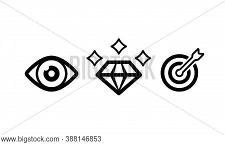 Mission, Vision And Values Of Company. Purpose Business Concept. Vector Eps 10. Isolated On White Ba