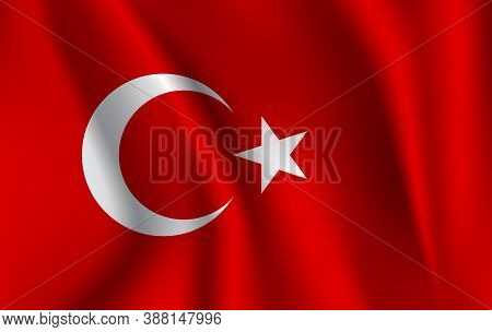 Realistic Waving Flag Of The Turkey. Fabric Textured Flowing Flag,vector Eps10