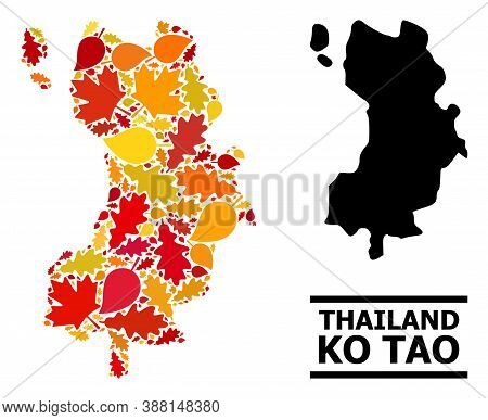 Mosaic Autumn Leaves And Solid Map Of Ko Tao. Vector Map Of Ko Tao Is Done From Random Autumn Maple