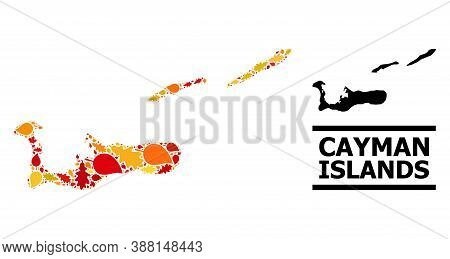 Mosaic Autumn Leaves And Solid Map Of Cayman Islands. Vector Map Of Cayman Islands Is Designed From