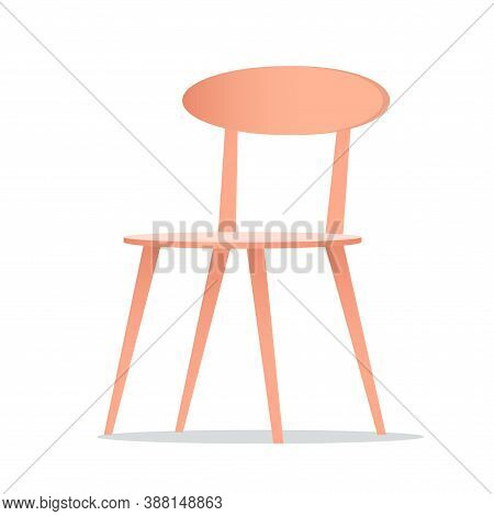 Elegant Wooden Chair With Backrest. Cafe Or Home Interior. Vector Isolated Illustration.