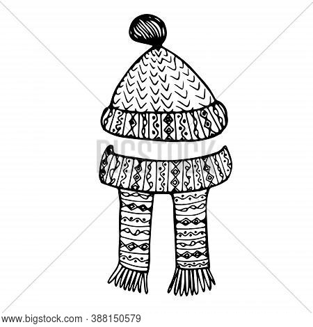 Knitted Winter Warm Hat And Scarf Monochrome Ink Sketch Art Design Stock Vector Illustration For Web