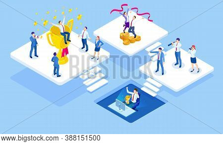 Isometric Business Success Concept. Entrepreneur Business Man Leader. Businessman And His Business T