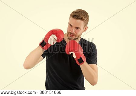 Defence Skill. Sportsman Boxer With Gloves. Boxing Concept. Man Athlete Boxer Concentrated Face With