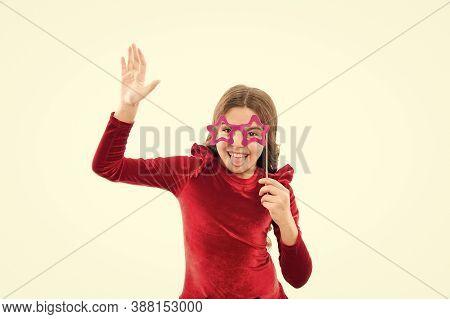 Taking Pleasure In Party. Party Girl Isolated On White. Happy Child Hold Prop Glasses. Party Fun And