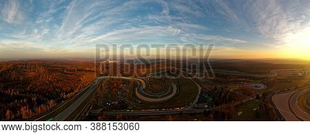 Landscape With The Automotodrom Racing Circuit In Brno, Grand Prix Of Motorbikes And Cars In The Cze