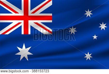 Realistic Waving Flag Of Australia, The Waving Flag Of Australia, High Resolution Fabric Textured Fl