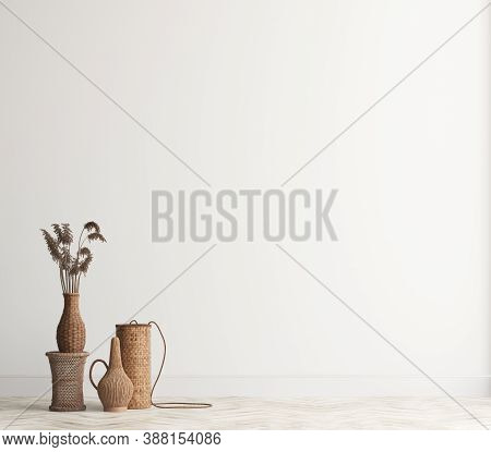 Home Interior Background With Wicker Furniture And Decor, Empty White Wall Mockup, 3d Illustration