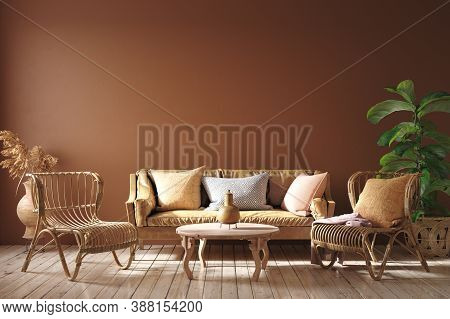 Modern Interior In Terracotta Color With Leather Sofa, Rattan Armchairs And Flower, 3d Illustration
