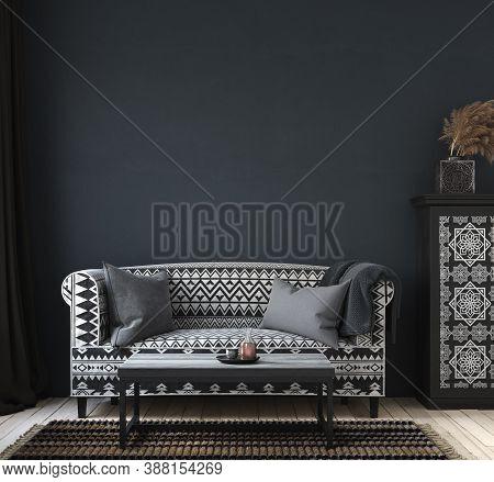 Dark Home Interior, Ethnic Style Living Room, Wall Mock Up Background, 3d Illustration