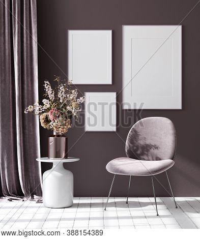 Mockup Poster In Dark Violet Monochrome Modern Living Room Interior Background, 3d Illustration