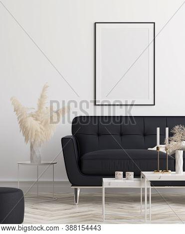 Mockup Poster In Modern Living Room Interior Background, 3d Illustration