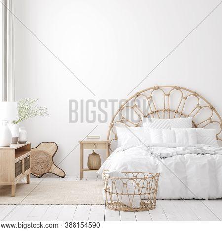 Coastal Boho Style Bedroom Interior, Wall Mockup, 3d Illustration