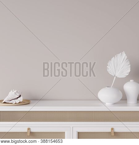 Mock Up Frame In Coastal Home Interior Background, Room With Natural Wooden Furniture And Dry Plants