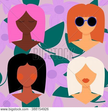 Four Women Of Different Nationalities And Cultures. Girl With Different Skin And Hair Color. Women's
