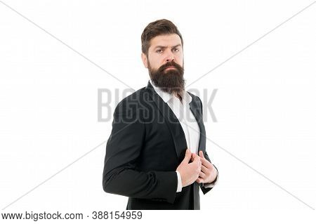 Inspiring Confidence. Confident Businessman Isolated On White. Bearded Man With Confident Look. Succ