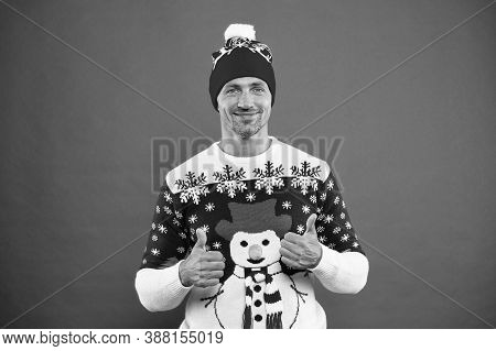 Maintaining Sense Of Style With Festive Snowman Jumper. Happy Man Give Thumbs Ups In Winter Style. C