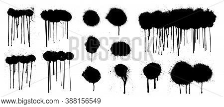 Great Graffiti Spray Collection With High Detail. Isolated Collection Drips Black Ink Splatters And