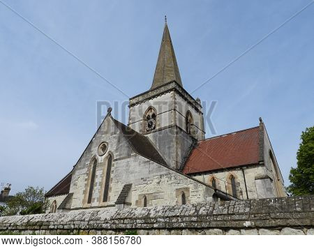 Christ Church Brockham Surrey Viewed From South East Worms Eye View Includes Church Yard Wall