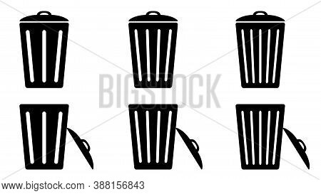 Trash Cans Icons Set. Bin. Isolated Closed And Open Trash Cans. Vector
