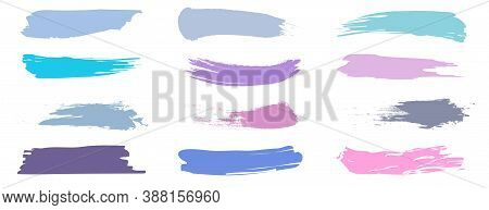 A Set Of Brush Strokes For Make-up. Collection Of Lines For Make-up. Cosmetic Textures For Lipstick