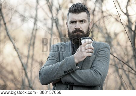 Drink It On The Go. Man Bearded Hipster Prefer Coffee Take Away. Businessman Drink Coffee Outdoors.