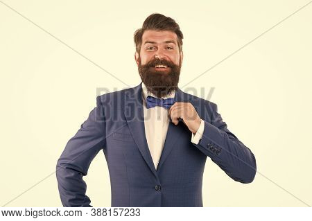 Businessman With Beard Wear Bow Tie. Art Director Exhibition Curator. Modern Business. Think Differe