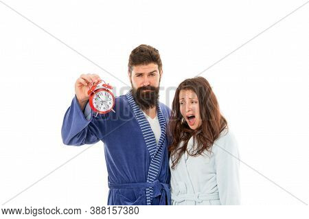 Time Management. Morning Routine. Alarm Clock Ringing. Tired Family Couple. Sleepless Man And Woman