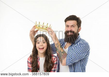 Born To Shine. Father Reward Small Child With Crown. Happy Girl Got Crown Reward. Beauty Queen. Priz