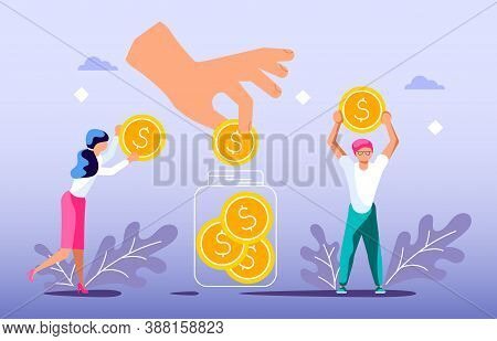Concept Of Donating To Charity And Volunteering. Tiny People Collect Coins To Make Donate.  Flat Art