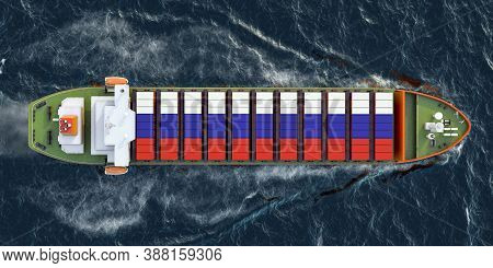 Freighter Ship With Russian Cargo Containers Sailing In Ocean, 3d Rendering